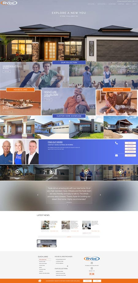 Ryde Building Company Website Home Page